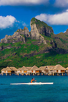 Kayaking on the lagoon, Four Seasons Resort Bora Bora, French Polynesia.