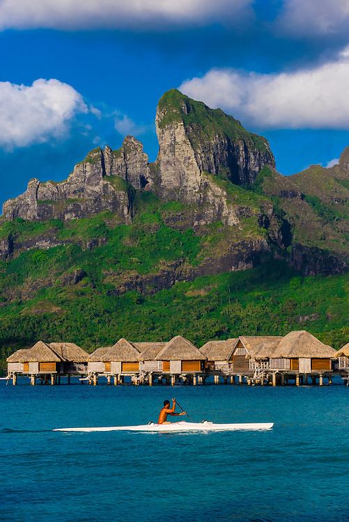 Kayaking on the lagoon, Four Seasons Resort Bora Bora, French Polynesia.