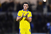 Anthony Hartigan (8) of AFC Wimbledon applauds the travelling fans at full time after Wimbledon lost 2-0 to Bristol Rovers during the EFL Sky Bet League 1 match between Bristol Rovers and AFC Wimbledon at the Memorial Stadium, Bristol, England on 23 October 2018.