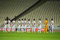 ATHENS, GREECE - OCTOBER 14: Greek team prior to the UEFA Nations League group stage match between Greece and Kosovo at OACA Spyros Louis on October 14, 2020 in Athens, Greece. (Photo by MB Media)
