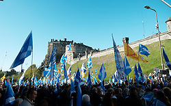 All Under One Banner Independence March, Edinburgh, Saturday 6th October 2018<br /> <br /> Pictured: Flags at Edinburgh Castle<br /> <br /> (c) Aimee Todd | Edinburgh Elite media