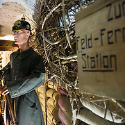 Mannequin dressed with Imperial German Army uniform in a reconstructed WWI German trench at the the Somme Trench Museum in Albert (Musée Somme 1916)The museum is in the old crypts under the basilica of Albert and shows scenes of trench life from WWI, original uniforms, war paraphernalia  and other items rescued from the fields.