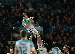 Connacht's Quinn Roux claims the high ball<br /> <br /> Photographer Simon King/Replay Images<br /> <br /> Guinness Pro14 Round 9 - Cardiff Blues v Connacht Rugby - Friday 24th November 2017 - Cardiff Arms Park - Cardiff<br /> <br /> World Copyright © 2017 Replay Images. All rights reserved. info@replayimages.co.uk - www.replayimages.co.uk