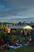 Locals at the market in Lake Murray Station, Lake Murray, Middle Fly District, Western Province, Papua New Guinea