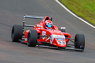 Tommy Foster (GBR) of Arden Motorsport exits Butchers during Round 23 of the FIA Formula 4 British Championship at Knockhill Racing Circuit, Dunfermline, Scotland on 15 September 2019.