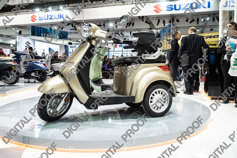 RHO Fieramilano, Milan Italy - November 07, 2019 EICMA Expo. Znen e-Veracruz Tricycle in exhibit at EICMA 2019
