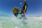 Naim Chidiac working Kite Beach, Dubai, United Arab Emirates.