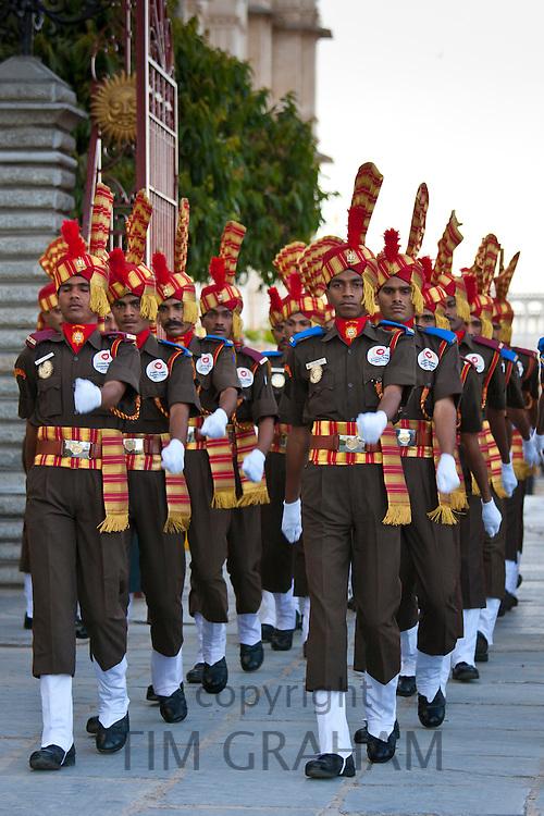 Jai Mewar ceremonial guard of 76th Maharana of Mewar, His Highness Shriji Arvind Singh Mewar of Udaipur, at the City Palace, Rajasthan, India