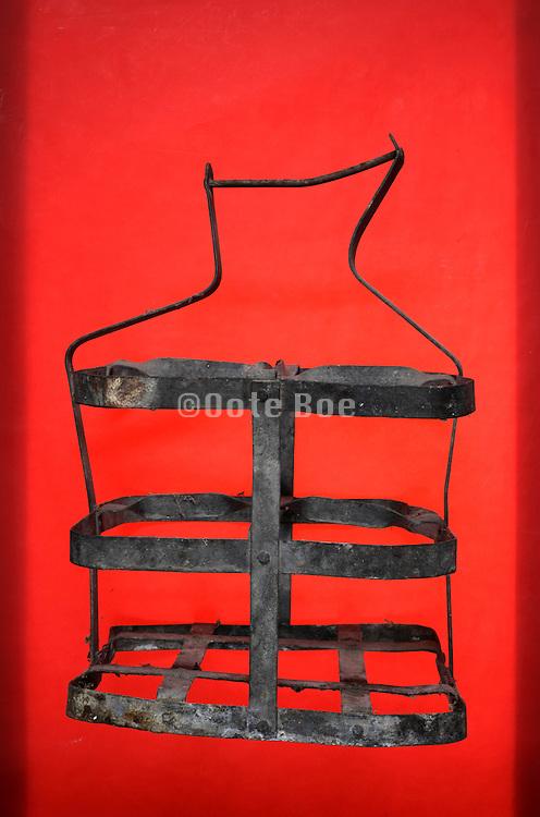 old vintage strip metal bottle carry rack basket