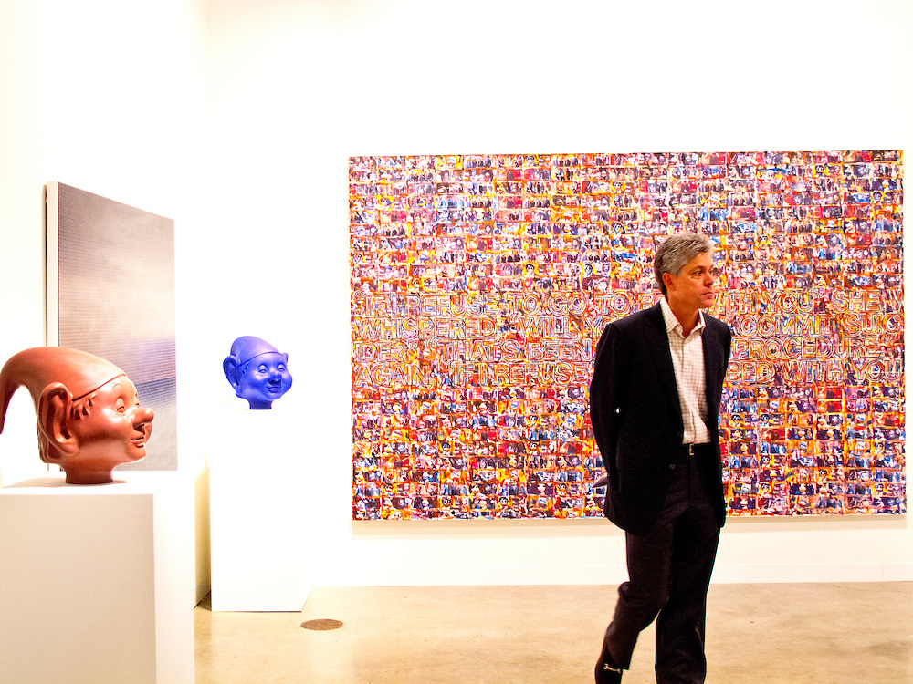 """Big piece is """"Untitled (Portrait )Sonic Youth"""" by Richard Prine at the Richard Gray Gallery space at Art Basel Miami Beach 2010."""
