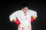 Aggressive female boxer On black Background