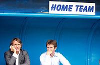 Photo: Daniel Hambury.<br /> Portsmouth v Inter Milan. Pre Season Friendly.<br /> 31/07/2005.<br /> Inter's head coach Roberto Mancini and assistant Orsi Ferdimamdo sit in the home dug out at Portsmouth.