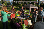 Members of the campaign to save nearby Carnegie Library in Herne Hill and closed by Lambeth council, organise a pop-up library and party in Ruskin Park, SE24 on 21st June 2016, in south London, United Kingdom. Local players improvise folk tunes in summer sunshine after their library was shut since 31st March. Children, the elderly and other adult groups have been prevented from using the building uphill from this location as Lambeth decide how to use the public space, bequeathed to the community by philanthropist, Andrew carnegie in 1911.