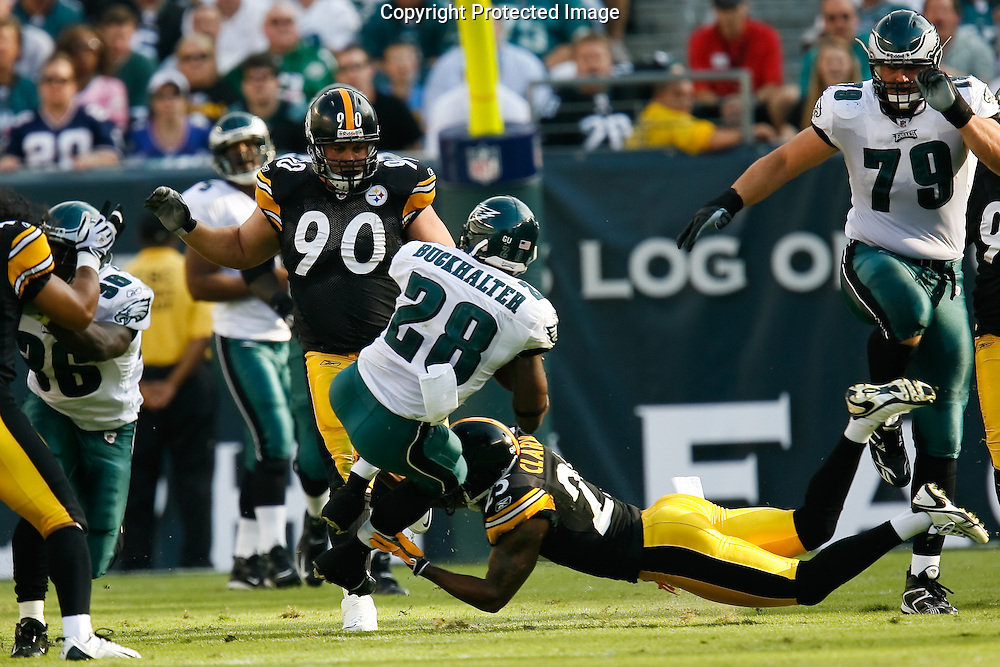 21 Sept 2008: Philadelphia Eagles running back Correll Buckhalter #28 carries the ball ad is brought down by  during the game against the Pittsburgh Steelers on September 21st, 2008.  The Eagles won 15-6 at Lincoln Financial Field in Philadelphia Pennsylvania.