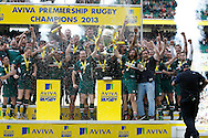 Picture by Andrew Tobin/Focus Images Ltd +44 7710 761829.25/05/2013. Leicester lift the winners cup after beating Northampton during the Aviva Premiership match at Twickenham Stadium, Twickenham.