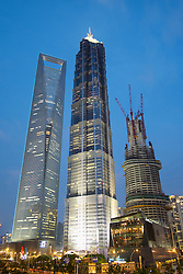 Evening view of Skyscrapers in Lujiazui financial district in Shnaghai China