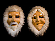 Anaktuvuk Pass, Alaska, Nunamiut masks made of caribou hide stretched over a wooden mold and accented with fur, collection of Ellen Lehman and Charlie Kennel.