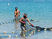 """Fishermen in snorkel gear pull nets at Puerto Baquerizo Moreno, on Isla San Cristóbal (Chatham Island), the easternmost island in the Galápagos archipelago, and one of the oldest geologically.  Its Spanish (and most commonly used) name """"San Cristóbal"""" comes from the Patron Saint of seafarers, """"St. Christopher."""" In 1959, Ecuador declared 97% of the land area of the Galápagos Islands to be Galápagos National Park, which UNESCO registered as a World Heritage Site in 1978. Ecuador created the Galápagos Marine Reserve in 1998, which UNESCO appended in 2001."""