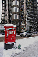 Post boxes outside the Lloyds of London building, City, London, England, Britain 2 Feb 2009