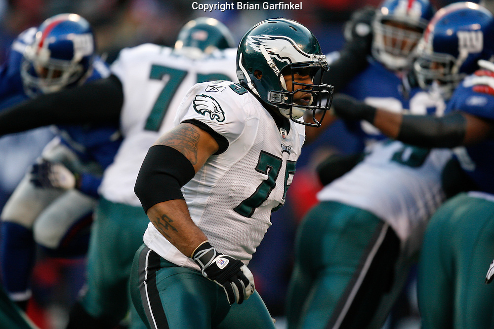 11 Jan 2009: Philadelphia Eagles defensive end Juqua Parker #75 during the game against the New York Giants on January 11th, 2009.  The  Eagles won 23-11 at Giants Stadium in East Rutherford, New Jersey.