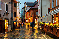 Narrow cobblestone streets in historic Cesky Krumlov, Czech Republic