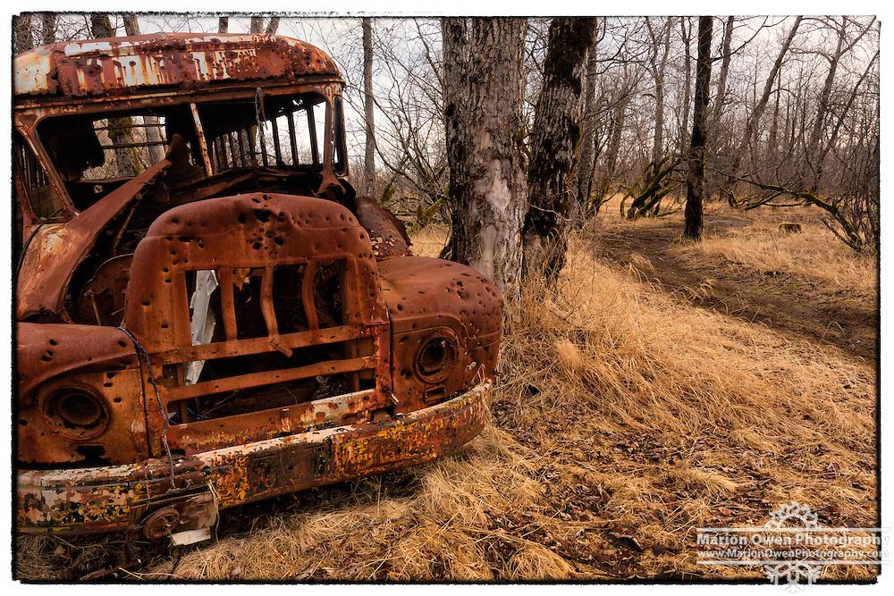 Abandoned bus near Kodiak, Alaska