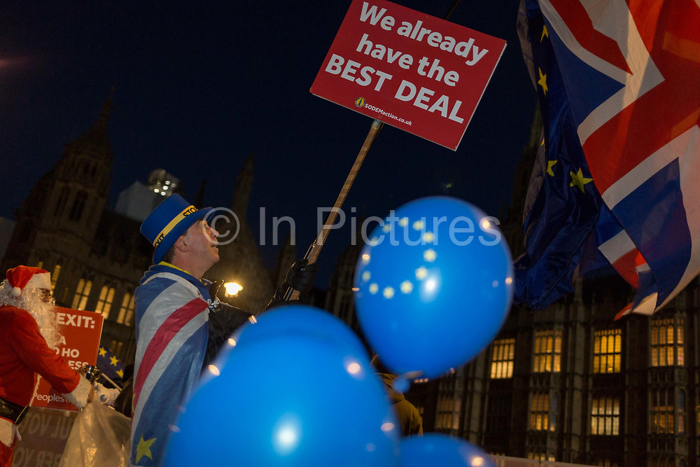 As the vote of no confidence for Prime Minister Theresa Mays leadership in the Conservative Party occurs because of her handling of the Brexit deal with the EU, Remainer activist Steve Bray protests opposite Parliament in Westminster, on 12th December 2018, in London, England.
