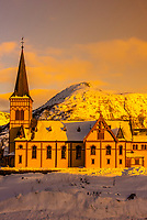 Lofoten Cathedral (Vagan Church) in the village of Kabelvag, outside Svolvaer, on Austvagoya Island, Lofoten Islands, Arctic, Northern Norway.