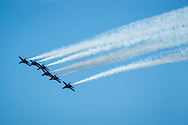 The Navy Blue Angels fly over McKinney, Texas on Wednesday, May 6, 2020. (©2020 Bartram Photography)