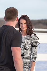 woman looking at a man outdoors