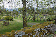 The Vereide Kirke Cemetery in Nordfjord, Norway, is bordered by a mossy rock wall on May 17, 2013.  (© 2013 Cindi Christie)