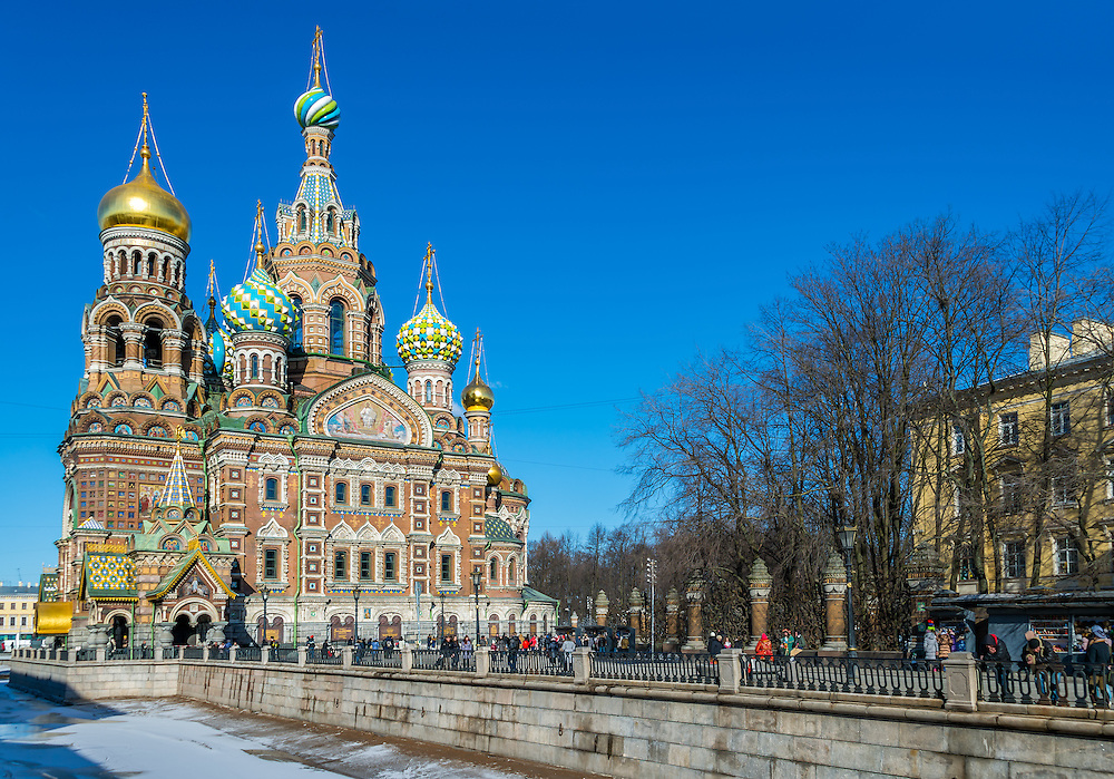 ST. PETERSBURG - CIRCA MARCH 2013:Church of the Savior on Blood. in St. Petersburg, circa March 2013. This is a tourist attraction with 221 museums, 2000 libraries, and 80  plus theaters within the city.
