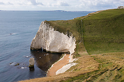 Bats Head viewed from the top of Swyre Head on the Jurassic Coast, Dorset, England, UK.