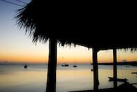 Dusk over the bay of Little Corn Island, Nicaragua.