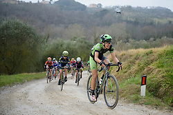 Dani King (Cylance) on the penultimate gravel sector at Strade Bianche - Elite Women. A 127 km road race on March 4th 2017, starting and finishing in Siena, Italy. (Photo by Sean Robinson/Velofocus)