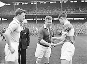 The toss up between team captains and the referee during the All Ireland Senior Gaelic Football final Dublin vs Derry in Croke Park on 28th September 1958. Dublin 2-12 Derry 1-9.