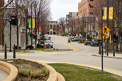 Many of the business in Uptown Normal are closed due to the COVID-19 (Novel Coronavirus). This shot around noon time on a Friday would normally be bustling with hoards of Illinois State University Students, Normal residents and visitors