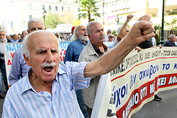 October 4, 2018 - Athens, Greece - Pensioners take part in a rally outside the Labor ministry in Athens. Hundreds of pensioners demonstrated Thursday against more austerity measures planned by the Greek government. (Credit Image: © Aristidis VafeiadakisZUMA Wire)