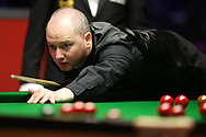 Graeme Dott of Scotland during his 1st round match against Sanderson Lam.  ManBetx Welsh Open Snooker 2018, day 1 at the Motorpoint Arena in Cardiff, South Wales on Monday 26th February 2018.<br /> pic by Andrew Orchard, Andrew Orchard sports photography.