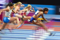 March 2, 2018 - Birmingham, England, United Kingdom - Sharika Nelvis ofUnited States at 60 meter hurdles at World indoor Athletics Championship 2018, Birmingham, England on March 2, 2018. (Credit Image: © Ulrik Pedersen/NurPhoto via ZUMA Press)