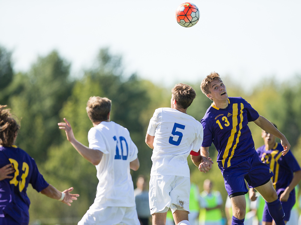 Noah Grumman of Williams College heads the ball during a NCAA Division III soccer game against Colby College on September 19, 2015 in Waterville, ME. (Dustin Satloff/Colby College Athletics)