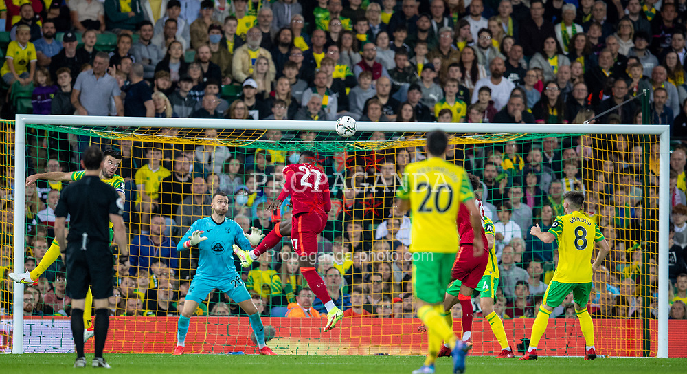 NORWICH, ENGLAND - Tuesday, September 21, 2021: Liverpool's Divock Origi scores the second goal with a header during the Football League Cup 3rd Round match between Norwich City FC and Liverpool FC at Carrow Road. Liverpool won 3-0. (Pic by David Rawcliffe/Propaganda)