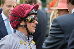 Frankie Dettori at the Qatar Goodwood Festival, Goodwood, West Sussex England. 3 August 2017.<br /> Photo by Dominic O'Neill/SilverHub 0203 174 1069 sales@silverhubmedia.com