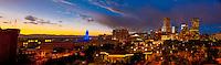Panoramic view of downtown skyline with Denver Civic Center (City & County Bldg.) on left,  Denver, Colorado USA.