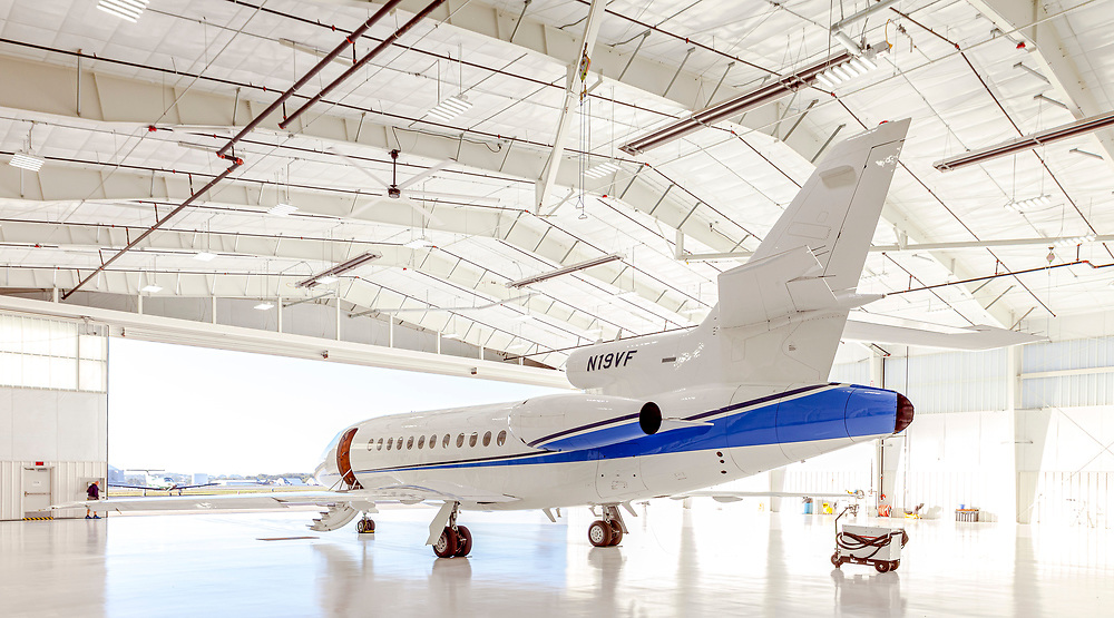 Dassault Falcon 900B, photographed at the VF corporate hangar in Greensboro, NC on 2 October, 2017.  <br />