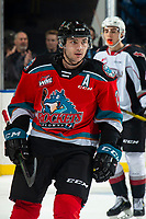 KELOWNA, BC - DECEMBER 18: Matthew Wedman #20 of the Kelowna Rockets skates to the bench after scoring a first period goal against the Vancouver Giants at Prospera Place on December 18, 2019 in Kelowna, Canada. Wedman was selected in the 2019 NHL entry draft by the Florida Panthers. (Photo by Marissa Baecker/Shoot the Breeze)