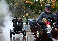 Dawn in Hyde Park, London as  competitors set off at the start of the London to Brighton Veteran Car Run Sunday  4th November 2012.   Photo by: Stephen Lock / i-Images