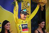 Podium, Hotess, Miss, Greg Van Avermaet (BEL - BMC) Yellow jersey, during the 105th Tour de France 2018, Stage 7, Fougeres - Chartres (231km) on July 13th, 2018 - Photo Kei Tsuji / BettiniPhoto / ProSportsImages / DPPI