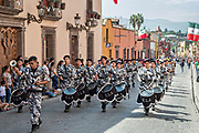 A military band parades through the historic district during Mexican Independence Day celebrations September 16, 2017 in San Miguel de Allende, Mexico.