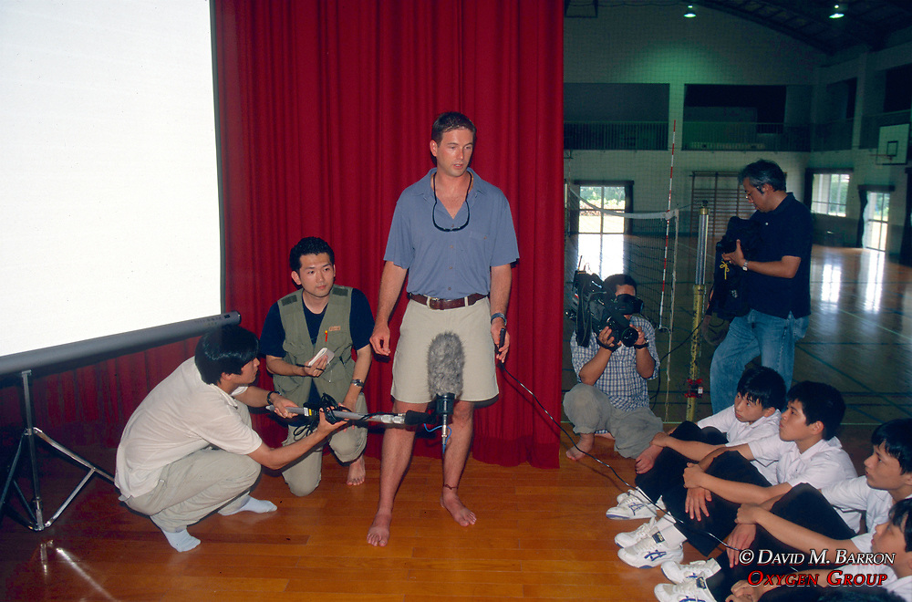 J. Nichols Giving A Talk To Students About Sea Turtles